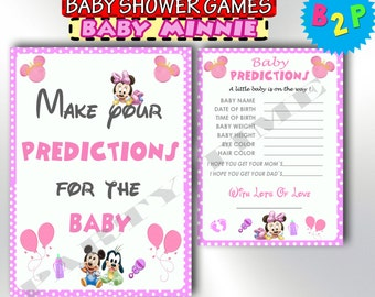 Baby Shower Minnie Mouse Prediction Cards, Pink Predictions For Baby, Baby Minnie Mouse Predictions, Instant Download - bm2