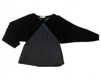 Lanvin : black silk and velvet blouse, size S, vintage 70s