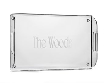 Monogrammed Acrylic Serving Tray, Personalized Acrylic