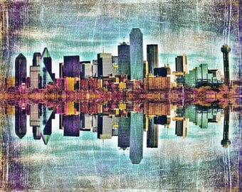 "Dallas, Texas - ""Downtown Dallas Skyline Reflection""-(image is horizontal)"