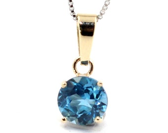 Genuine 0.8ct London blue topaz pendant necklace solid 9k yellow gold + chain