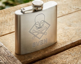 Hip Flask – Personalised with Name – Skull Ornament - Stainless Steel