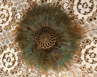Pheasant Feather Hair Clip
