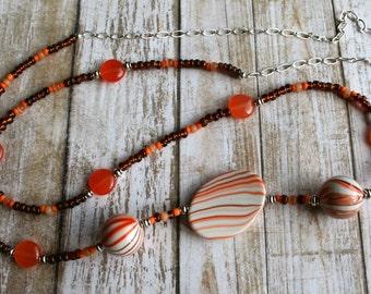 Orange Beaded Long Necklace, Long Silver Necklace, Brown Beaded Necklace, Orange Beaded Necklace, Large Bead Necklace, Funky Necklace