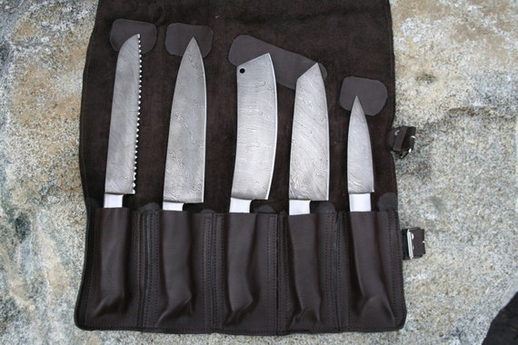 custom handmade chef knife set w leather by jenonajaknifeworks. Black Bedroom Furniture Sets. Home Design Ideas
