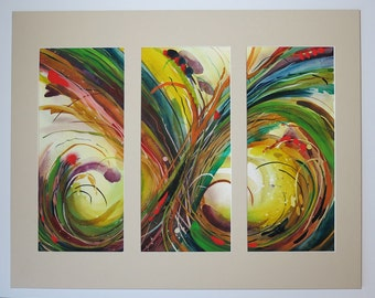 Attractive Abstract Watercolor Triptych. Original Artwork with custom Mat.