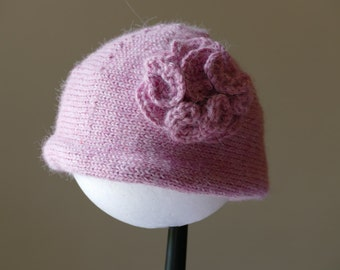 Beautiful pink alpaca cloche style hat with flower