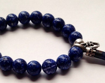 Handmade with Love Fossil Beads with Lapis Luzili Crystal & Sterling Silver OM Bracelet