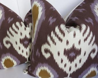Batavia Purple Cream Brown Pillow Cover, Brown Lavender Pillow Cover, Ikat Purple Lavender Ivory Pillow Cover, Pillow Cover, Ikat Fabric