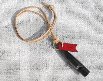 Buffalo Horn Dog Whistle On Leather Lanyard