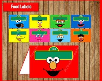Sesame Street Food Tent Cards instant download, Printable Sesame Street party Food labels, Elmo Food table labels