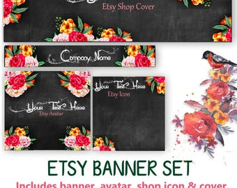 CUSTOM Floral Etsy Banner Set - Customized Banner or DIY - Avatar, Icon, Cover & Banner - DIY Blank Banner