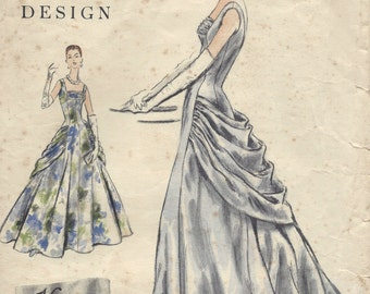 1955 Vintage VOGUE Sewing Pattern B32 DRESS Evening Gown (1151) Vogue 884