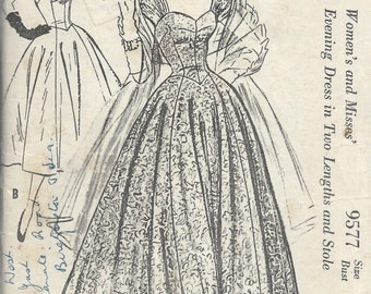 1950s Vintage Sewing Pattern B36 EVENING DRESS & STOLE (E1241) McCall's 9577