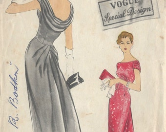 1950s Vintage VOGUE Sewing Pattern B36 DRESS (R849)  Vogue S-4826
