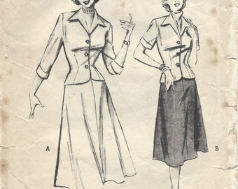 "1950s Vintage Sewing Pattern B34"" SUIT-JACKET & SKIRT - Blouse (R498)  Butterick 5645"
