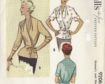 """1952 Vintage Sewing Pattern BLOUSE B36"""" (1676) McCall's 9206"""