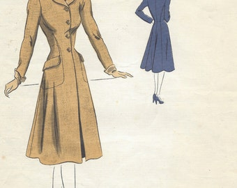 1943 WW2 Vintage VOGUE Sewing Pattern B30 COAT (1131) Vogue 310