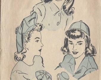 "1940s Vintage Sewing Pattern S21""-21 1/2"" HAT BAG & BEANIE (1029)  Advance 3223"