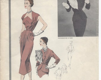 "1953 Vintage VOGUE Sewing Pattern DRESS & JACKET B30"" (R494) By 'Paquin' 1214"