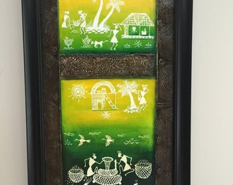 Original Warli Art painting by our shop's own Artisan - Acrylic on Canvas in Green, Yellow on a Brown background ideal Christmas gift
