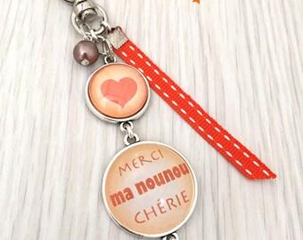 porte-clés bijou de sac a message  merci ma nounou orangé .REF.64