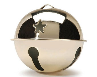 1 Gold Jingle Bell, 80mm (3.15 Inches), with Star Cutouts