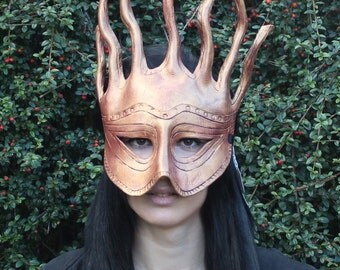 Deep pink and gold sea goddess leather mask