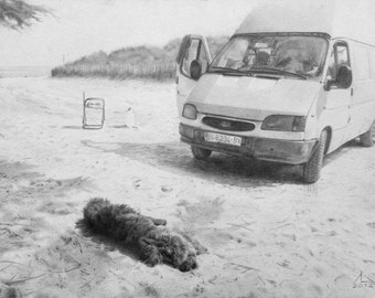Landscapes made pencil graphite on handmade paper. Realism