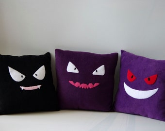 Gastly, Haunter and Gengar / Ghost Pokemon inspirated Stuffed hamdmade Plush Toy or Pillow - Full Set