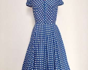 Bluetto Vintage dress with white polka dots skirt zipper front pockets