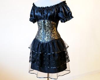 50% OFF Lace gothic skirt Black bustle skirt Steampunk Victorian black tulle adult skirt Halloween Burlesque Witch skirt Dark elf fairy goth