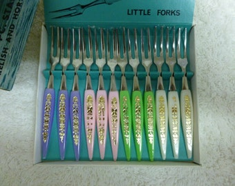 "Vintage 12 pce Stainless Steel Relish and Hors D'Oeuvre Forks ""Little Forks"" -Japan"