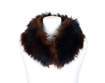 Faux Fur Short Collar Scarf in Brown