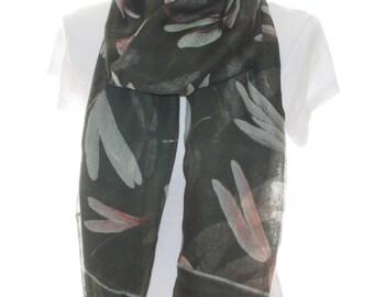 Kaki green dragonfly Scarf shawl, Beach Wrap, Cowl Scarf, khaki green dragonfly print scarf, cotton scarf, gifts for her