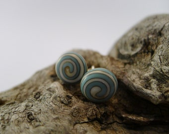 Lampwork glass studs, ivory, light blue