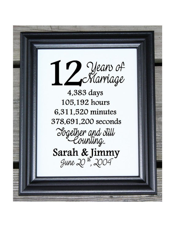 12th Wedding Anniversary Cotton Print 12th Wedding Gift 12