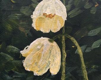 "Alaska scenery - Poppy in Rain - hand painted 4x4x.75"" canvas block, gallery wrapped"