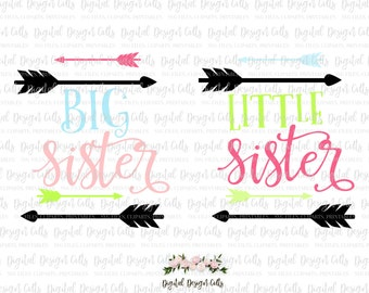 Big Sister Little Sister SVG, png Files for Cutting Machines, Sisters matching set, Tribal sisters, Big sister Little sister matching set