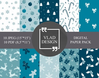 10 designs Blue Christmas paper pack Winter patterns Christmas patterns New year patterns Ready to print Digital paper pack