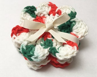 Handmade Crochet Christmas Coasters Floral Design Set of 4 100% Cotton Cute Christmas Gifts Holiday Stocking Stuffers