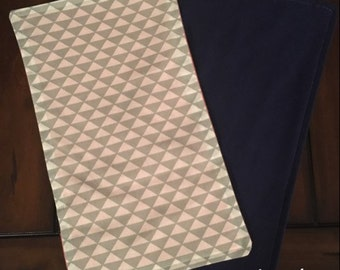 Baby Burp Cloth Gray/White Triangle Aztec Arrow Tribal With Navy Back