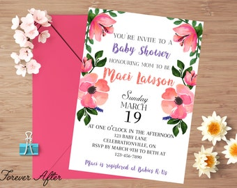 Baby Shower Invitation, Baby Girl Shower Invite, Floral Baby Shower Invitation, Digital Baby Shower Invitation, DIY Printable