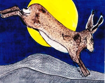 Hare Moon, square blank greetings card for your messasge