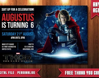 Thor Invitation, Thor Birthday, Thor Party, Thor Birthday Invitation, Thor, FREE Thank You Card