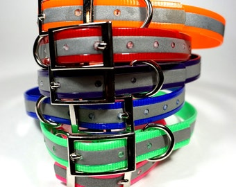 "3/4"" Reflective DoggleHead Collar (Small to Medium/Large Dogs 10""-22"" Neck) Stinkproof + Waterproof"