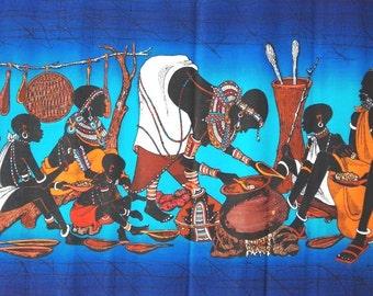 Blue wall hanging Batik, Handmade batik, Kenya batik, Handmade wall hanging ,African wax Batik, African wall hanging, Maasai batik