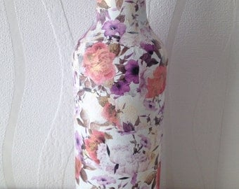 Vintage floral decoupage glass bottle