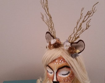 Gold Woodland fawn deer- HEADBAND ONLY