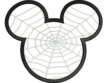 Mickey Mouse Spider Web Applique Embroidery Design